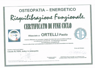 DIPLOMA DO OSTEOPATIA FRANCIA